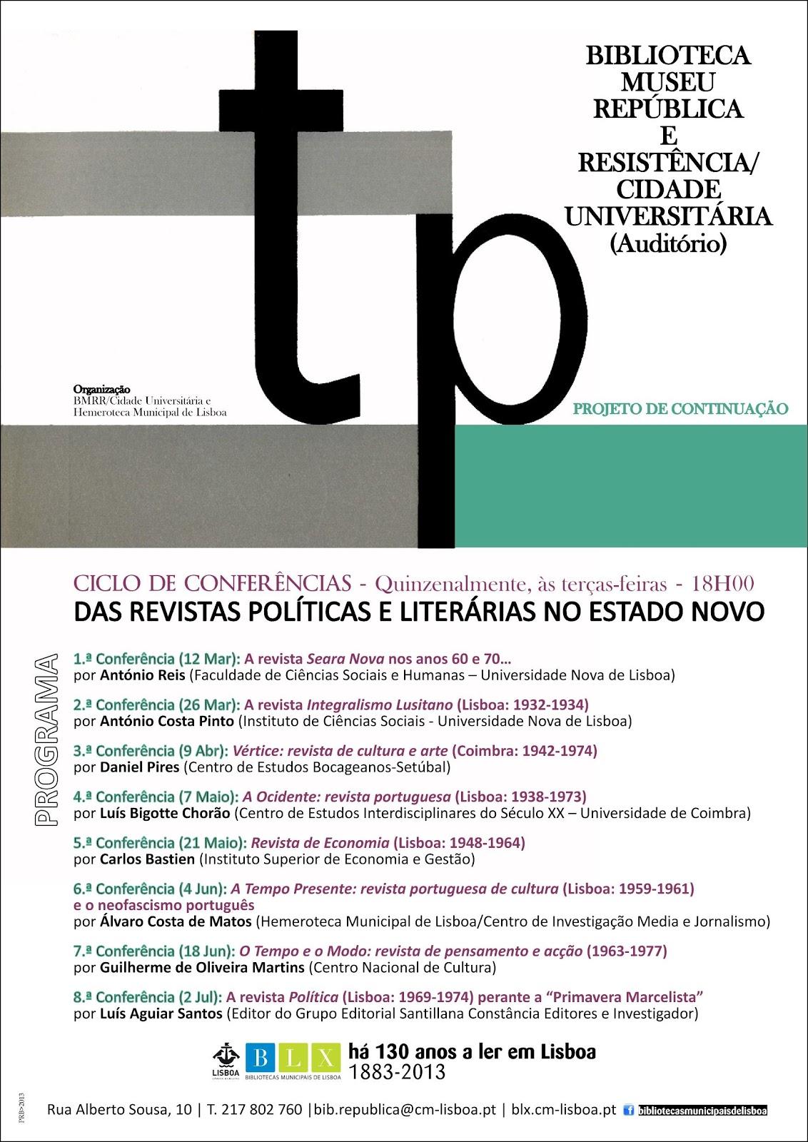 Revistas Politicas Literarias Estado Novo_Ciclo conferencias_BMRR_Hemeroteca LX